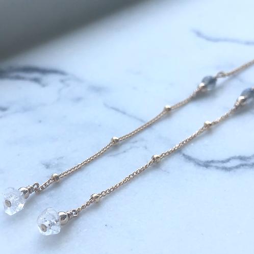 Herkimer Diamond & Labradorite Threader -14K Gold-Filled