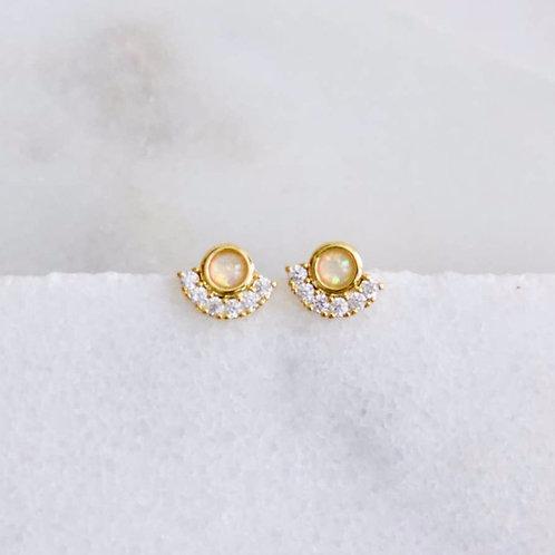 CZ Opal Stud Earrings