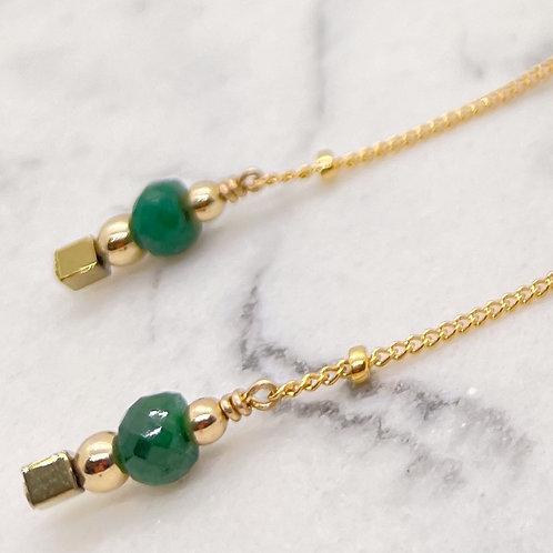 Emerald Stone Threader -14K Gold-filled