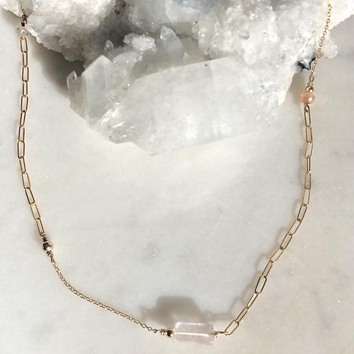 Peach Moonstone + Rose Quartz + Strawberry Quartz 14K Gold-Filled Necklace