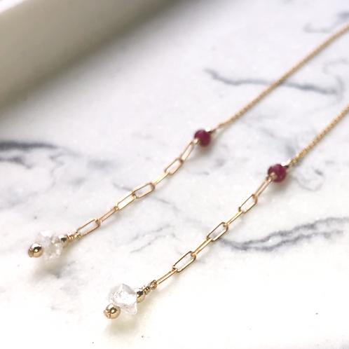 Ruby & Herkimer Diamond Threader -14K Gold-Filled