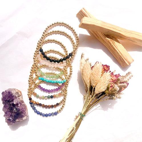 Gold Beaded Gemstone Bracelet