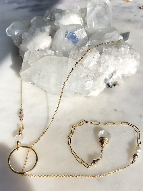 Moonstone + Herkimer Diamond + Pearl + Strawberry Quartz Oriah Slip Necklace
