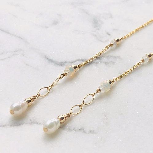 Opal & Pearl Threader -14K Gold-Filled