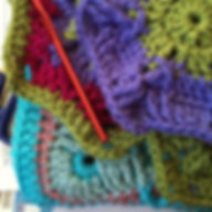 Brightly colored crochet projects