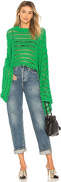 Green stylish crochet sweater