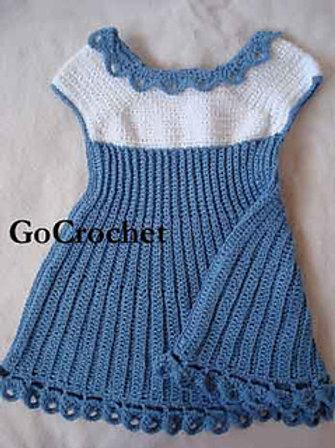 Summer Blue Baby Dress Pattern PDF