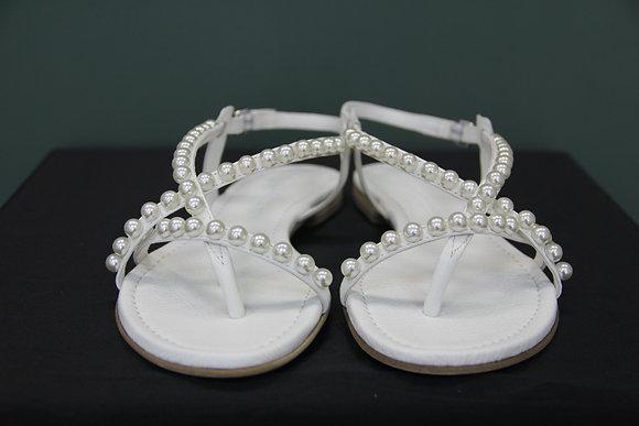 Kennel und Schmenger- weiße Sandalen mit Perlen