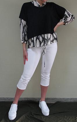 Crea- beige Bluse mit Muster
