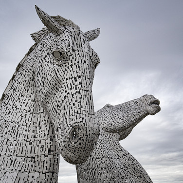 The Kelpies in Falkirk are a homage to the horses that helped building the scottish canals, as well to the mythic creatures that are said to live around scotland lochs.