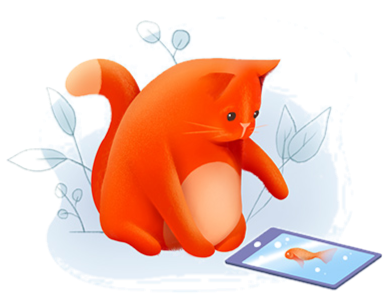 graphic illustrations cat with mouse