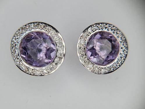 Amethyst and Diamond Stud Earrings