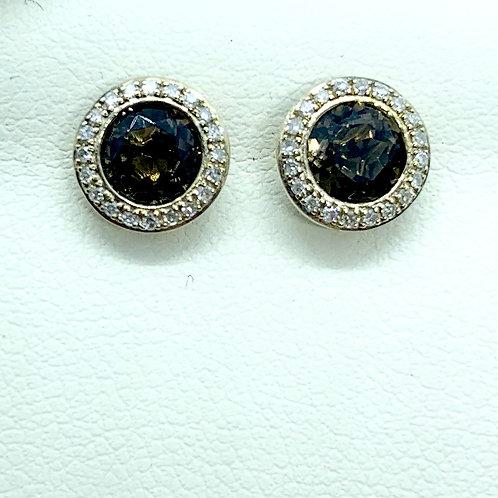 Quartz and Diamond Stud Earrings