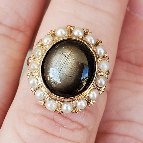 Black Star Sapphire and Pearl Ring
