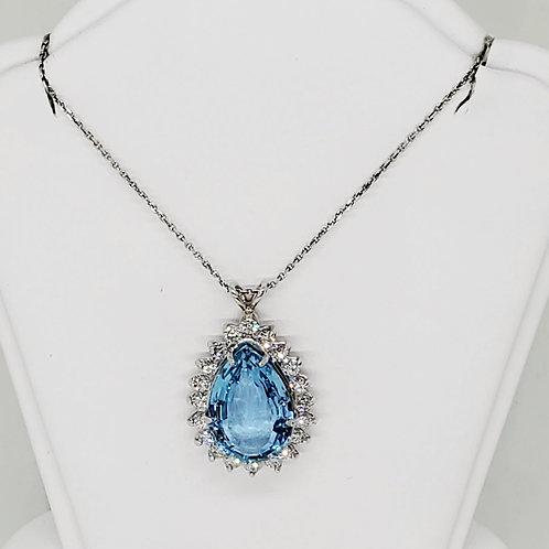 Tear Drop Aquamarine and Diamond Necklace