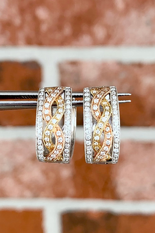 Tri Color Braided Diamond Hoops