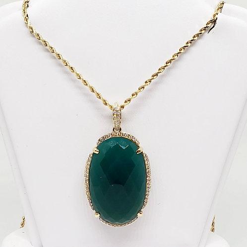 Agate and Diamond Pendant