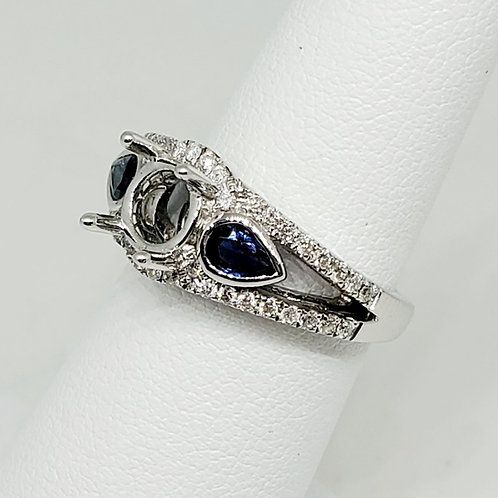 Sapphire and Diamond Semi-Mount Engagement Ring