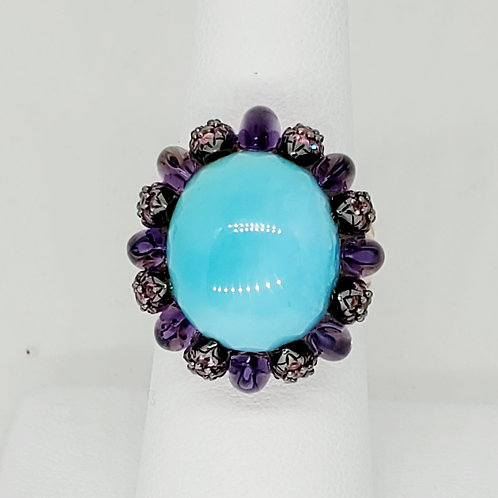 Le'Vian Turquoise and Amethyst Ring