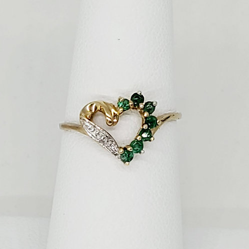 Emerald and Diamond Heart Ring