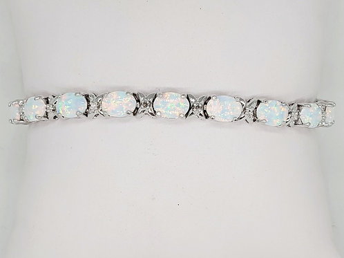 Opal and Diamond Tennis Bracelet