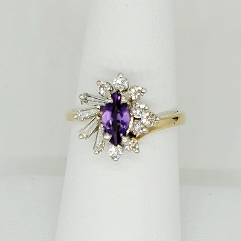 Marquise Amethyst and Diamond Ballerina Ring