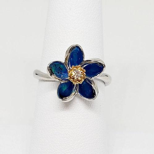 Pumeria Opal and Diamond Ring