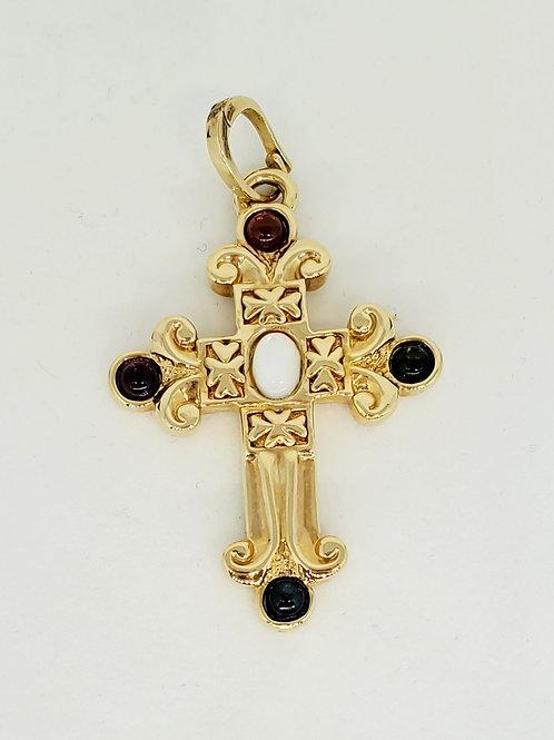 Multiple Gemstone Cross Pendant