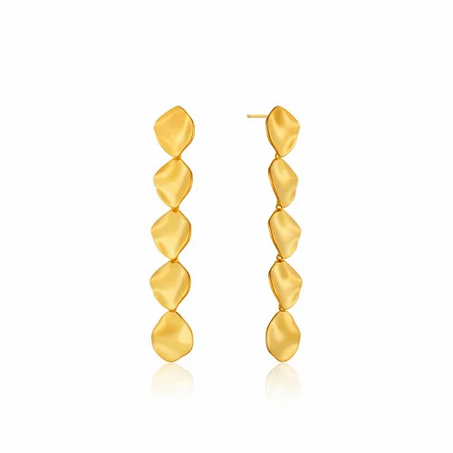 Gold Crush Multiple Discs Drop Earrings