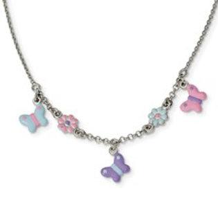 Butterfly & Flower Enamel Necklace