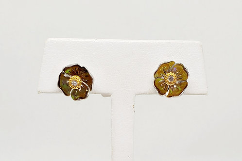 California Poppy Opal and Diamond Earrings