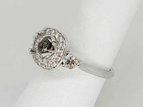 Cushion Halo Semi-Mount Engagement Ring