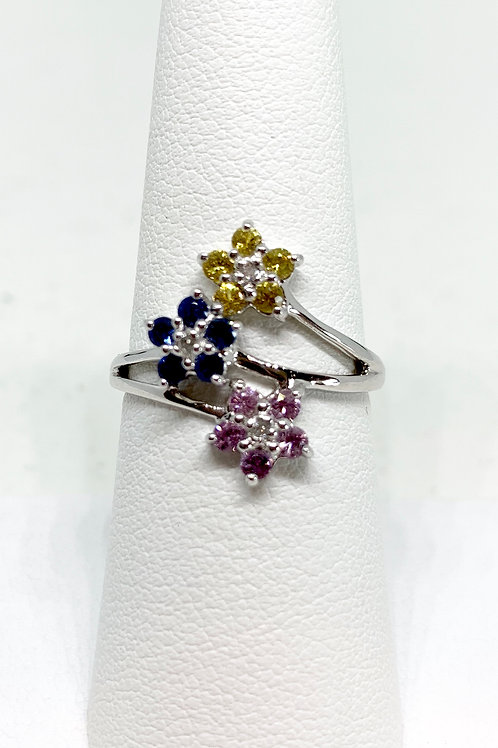 Flower Sapphire and Diamond Ring