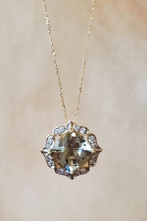 Prasiolite and Diamond Necklace