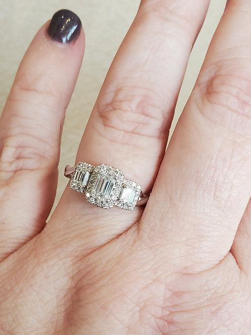 Emerald Diamond Halo Ring