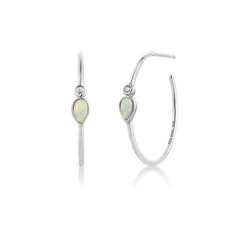 Opal Colour Raindrop Hoop Earrings
