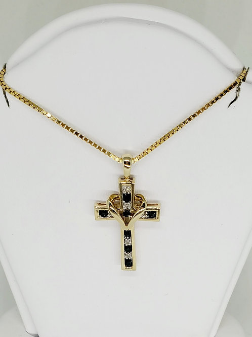Sapphire and Diamond Cross Necklace