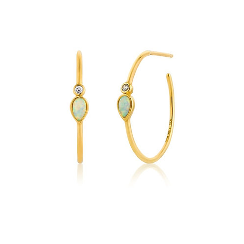 Opal Colour Raindrop Hoop Earrings