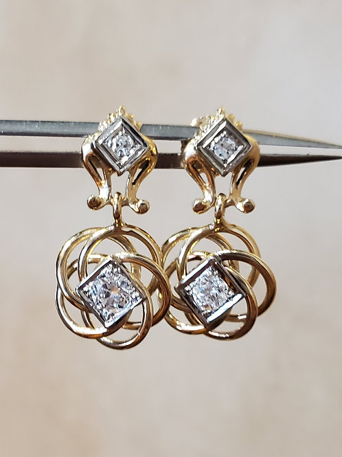 Diamond Vintage Swirl Earrings