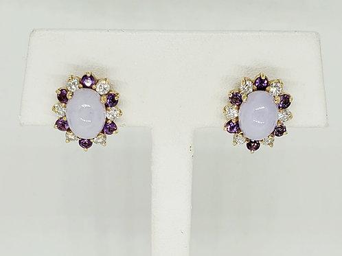 Jade, Amethyst and Diamond Stud Earrings