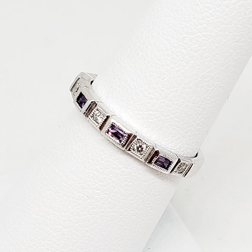 Amethyst and Diamond Stackable