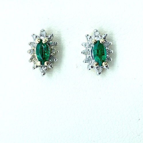 Emerald and Diamond Stud Earrings