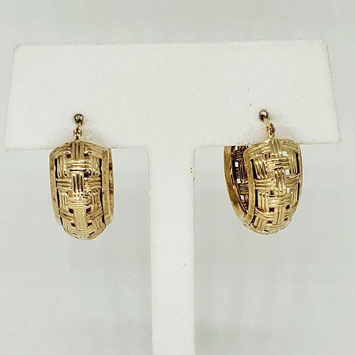 Gold Hoop Basket Earrings