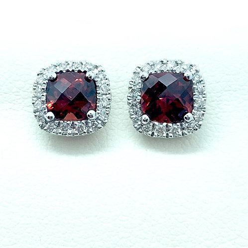 Ruby and Diamond Stud Earrings