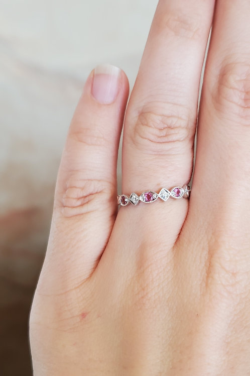 Pink Sapphire and Diamond Stackable