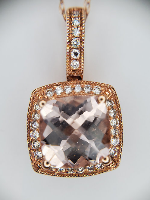 Morganite and Diamond Necklace