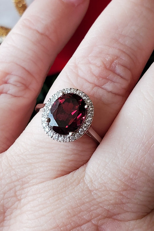 Rhodolite Garnet and Diamond Ring