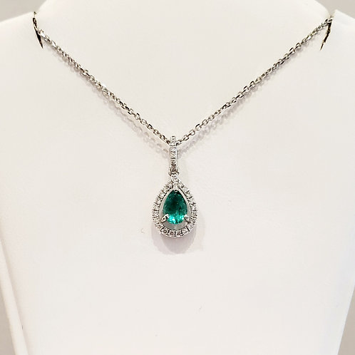 emerald tear drop diamond necklace
