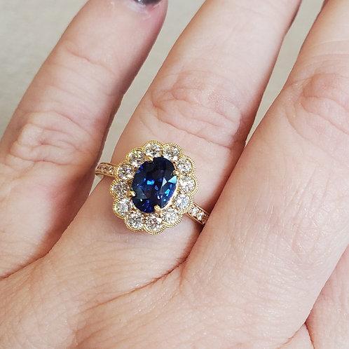 Blue Sapphire & Diamond Scalloped Halo