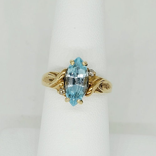 Marquise Blue Topaz and Diamond Ring